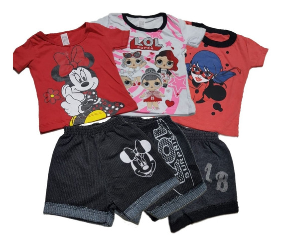 7 Conjunto Shorts Moleton Infantil E Camiseta Meninas