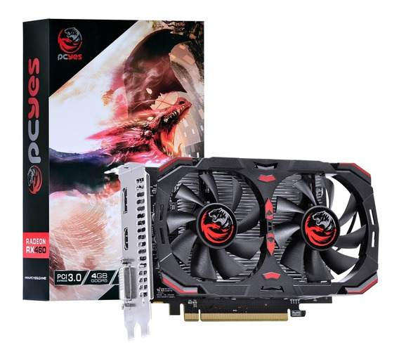 Placa De Vídeo Pcyes Amd Radeon Rx 460 4gb Gddr5 Dual Fan