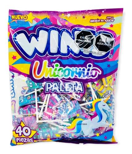 Imagen 1 de 1 de Winis Paleta Unicornio Caramelo Suave 40 Pza.