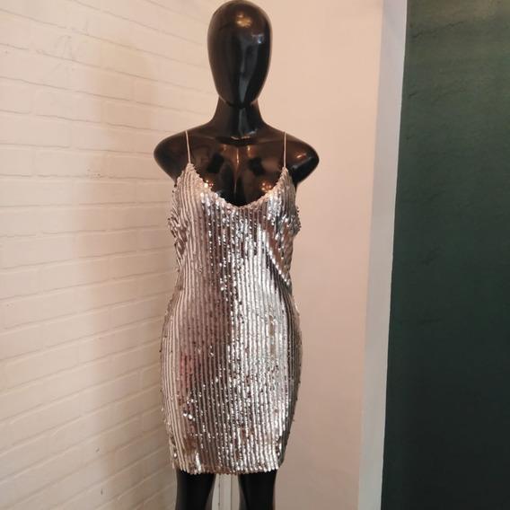 1911-03 Vestido Corto Color Plateado
