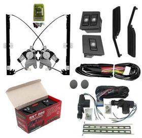 Kit Vidro Eletrico Uno Antigo + Kit Trava 2p + Alarme