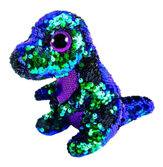 Pelúcia Dinossauro Verde Lantejoulas Dtc + Mini Casa Lucy