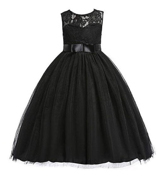 Vestido Color Negro Primera Comunion Fiesta Niñas Glamulice