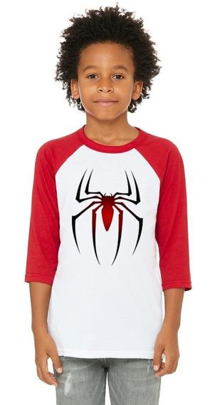 Playera 3/4 Araña, Spiderman, Marvel, Niño