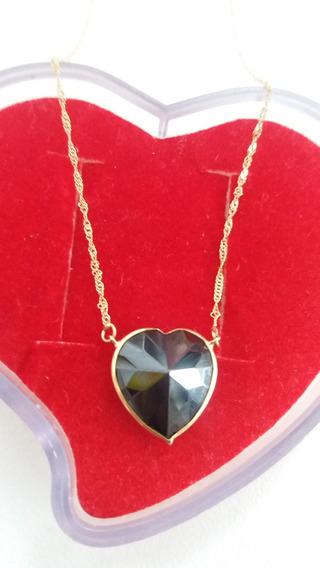 Gargantilha Ouro 18/750 Coração Pedra Onix Preta, 40 Cm