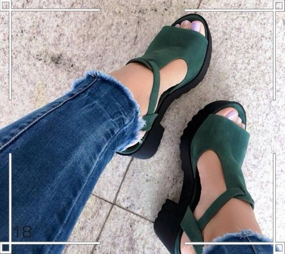 Sandalia Feminina Verde Tratorada Plataforma Salto Grosso