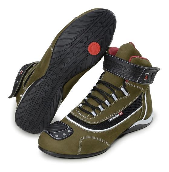 Tênis Motociclista Academia Com Refletivo Preto Cano Alto De Couro Cores Atron Shoes