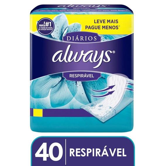 Protetor Diário Always Respirável Leve Mais Pague Menos 40 U