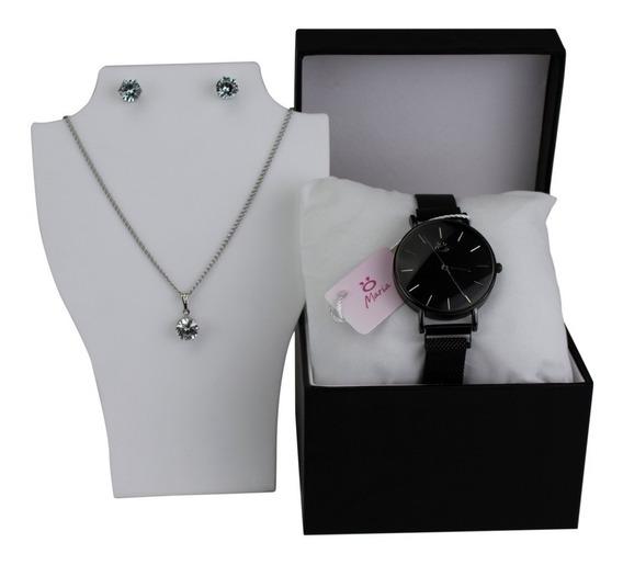 Relógio Feminino Preto Pulseira Original Magnética + Brinde