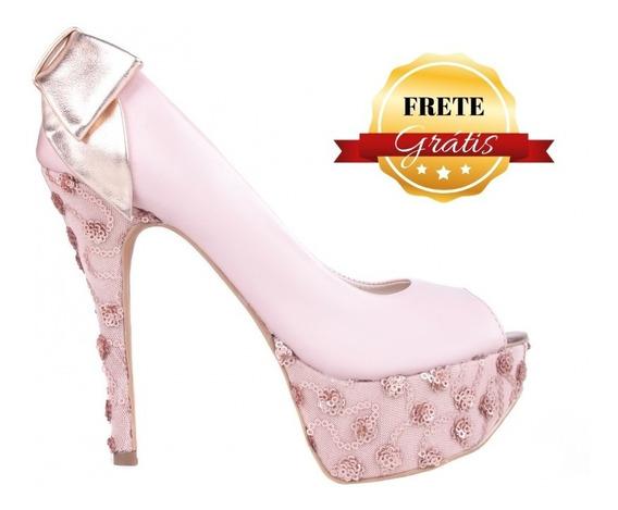 Sapato Social Meia Pata Rosa
