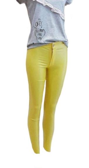 Lozavi Pantalón Engomado Jean Tiro Alto Celeste Amarillo