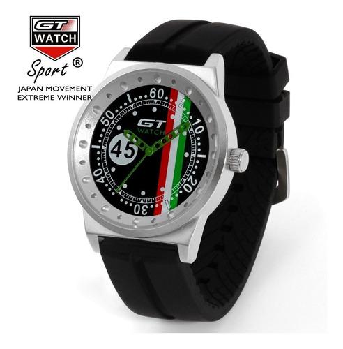 Relógio Masculino Gt 24 Heures Caixa Aço Pulseira Silicone