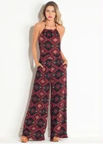 c3f85578f Macacão Longo Estampado Plus Size Feminino - Calçados, Roupas e ...