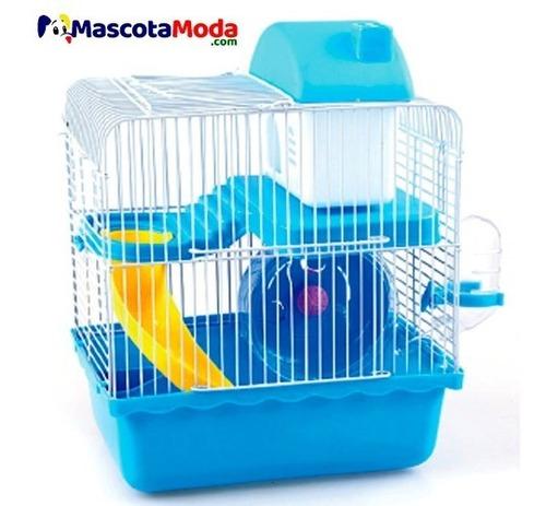 Imagen 1 de 2 de Jaula Tobogán Con Bebedero Plato Rueda Y Casa Para Hamster