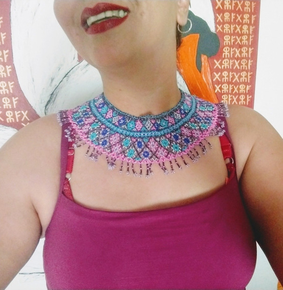 Collar De Chaquira Tipo Huichol Cosido A Mano. Envío Gratis