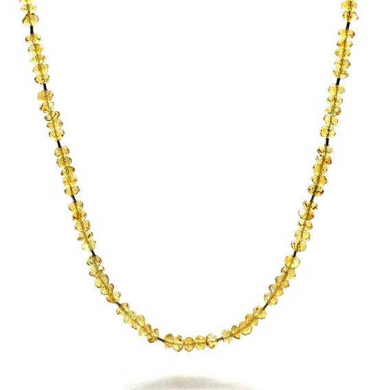 Colar De Citrino Natural 50cm Entremeios De Ouro 18k J22532