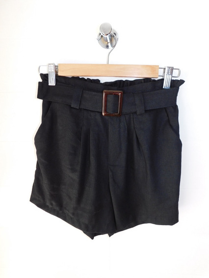 Short Negro Liso Mujer Lino Cinturon Tiro Alto Mc