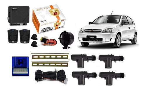 Kit Trava Eletrica + Alarme Novo Corsa Hatch Maxx 4 Portas
