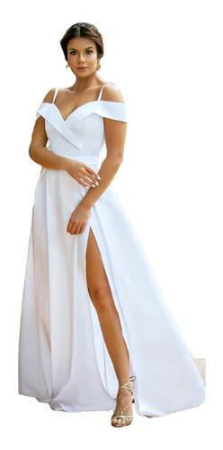 Vestido Acetinado Branco Noiva Civil Ombro À Ombro  Fenda