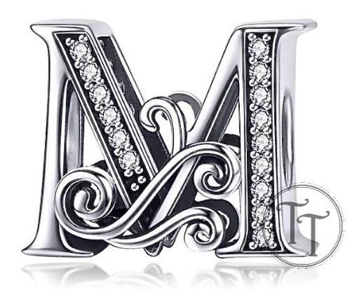 Collar Letra M Plata Esterlina 925 Zirconias Cz Fleur