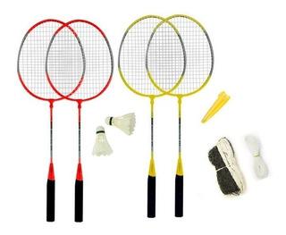 4 Raquetas Badminton + 2 Pluma + Funda + Red + Porta Cuotas