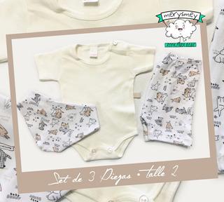 Set De 3 Piezas Mangas Cortas Para Bebes