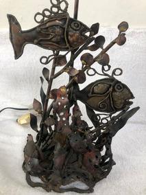 Excepcional Escultura E Luminária Antiga Em Metal