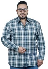 Camisa Plus Size Bigshirts Manga Longa Xadrez - Verde/cinza