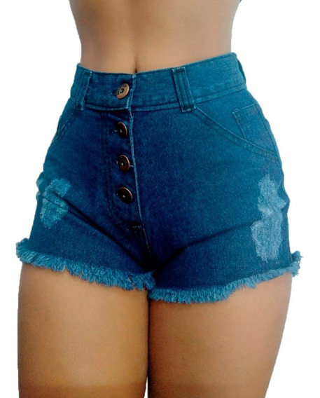 Shorts Jeans Feminino Hot Pant Estilo Anita Cintura Alta Cós