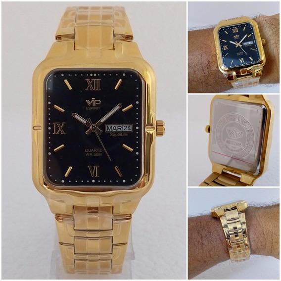 Relógio Masculino Vip Mh6244 Quadrado Dourado Ouro 18k Luxo