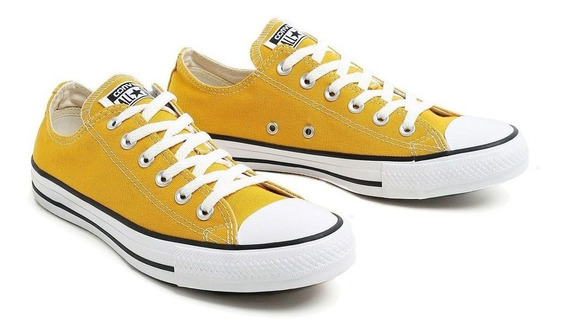 Tenis All Star Converse Chuck Taylor Lona Adulto Amarelo +nf