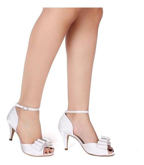 Sandália Para Noivas Com Laço E Strass Spaço Criativo Linda
