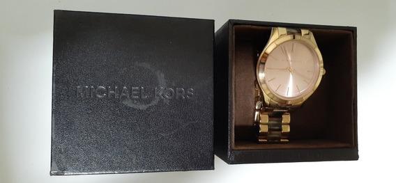 Relógio Feminino Michael Kors Dourado Com Fundo Rosê