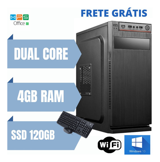 Cpu Dual Core 4gb Ram Ssd 120gb Windows 10 Brinde Especial
