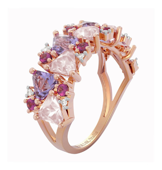 Anillo Bizzarro De Oro Rosa Con 3 Puntos Diamante 77 Puntos