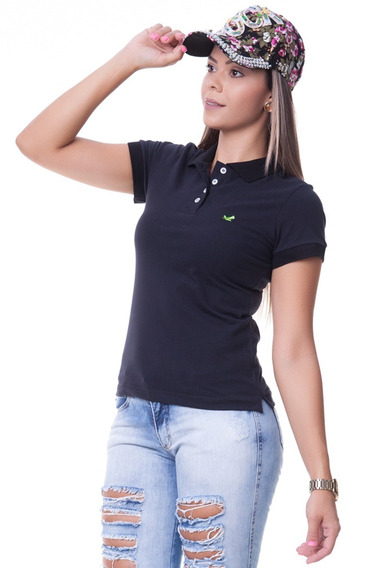 Camisa Camiseta Polo Gola Feminina Lisa