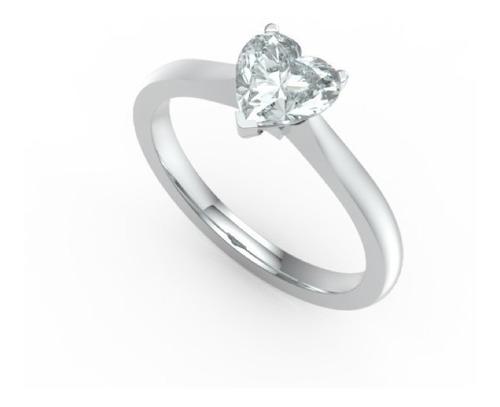 Imagen 1 de 8 de Anillo Con Diamante Cultivado Corazon De 50 Pts.