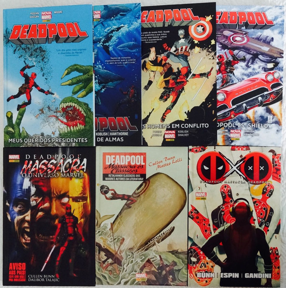 Lote C/7 Deadpool 1 2 3 4 Massacra Marvel Clássicos Panini