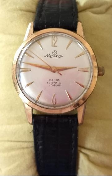 Relógio Antigo Minerva Swiss Automático De Pulso Raro Lindo!