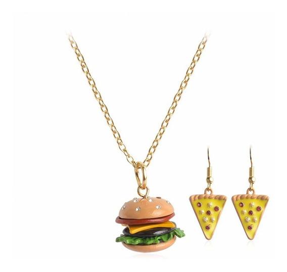 Set Collar Aretes Hamburguesa Pizza Accesorio Moda Casual