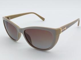 52125a766 Oculos De Sol Feminino Cinza Nude Lentes Polarizada 072