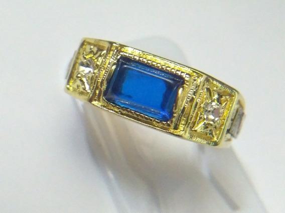 Anel De Formatura Gestão Comercial Pedra Azul Com Emblemas