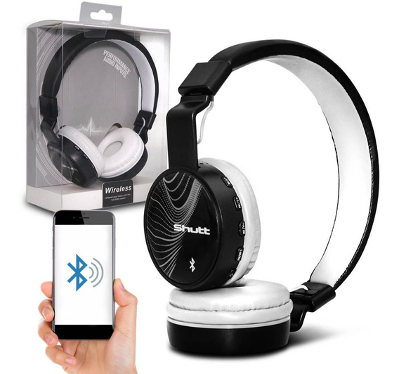Fone De Ouvido Headphone Wave Wireless P2 Branco Preto Shutt