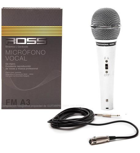Microfono Dinamico Vocal Metalico Cromado + Cable Canon Pack