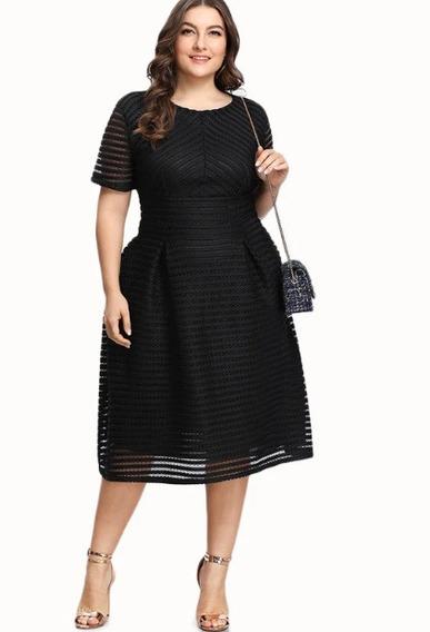 Vestido Elegante De Fiesta Mujer Dama Talla Extra Plus Negro