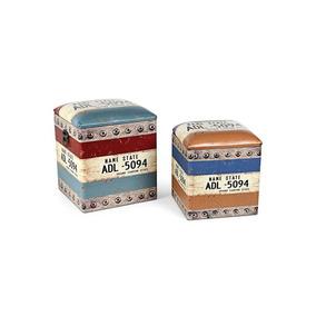 Conjunto De Puffs Em Madeira Placa Com 2 Peças