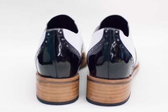 Zapatos Bajos Mujer Mocasines Cuero Y Charol Oxford