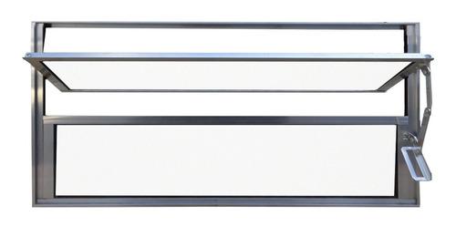 Imagem 1 de 4 de Vitro Basculante Alumínio Brilhante 40x100cm - C/ Vidros 3mm