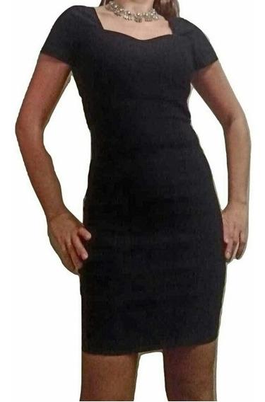 Vestido Negro Bengalina Al Cuerpo Elastizado Talle 1 Al 5