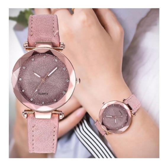 Relógio Feminino Brilhante Delicado Rosa